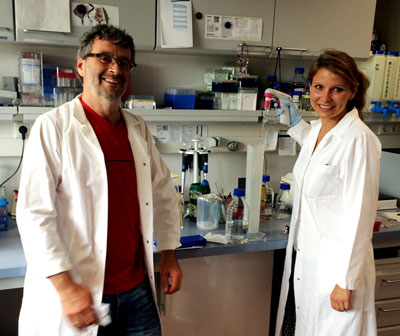 Dr. Holger Prokisch and Caroline Biagosh, a graduate doctoral student, from the Institute of Human Genetics at the Technical University of Munich, in Germany, Their grant for $67,760 is for BPAN research.